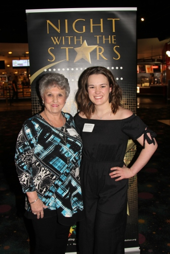 Becky Adkins, Rotary member, with Erika Longenecker, who received the Rotary Club of South Platte Scholarship