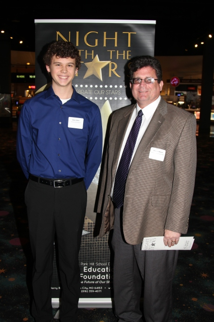 Davis Ehlers, recipient of the Rotary Club of South Platte Scholarship, with Rotary Club member Ed Muzar