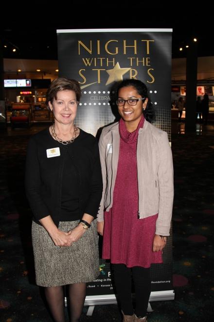 Debbie Hopkins, council member, with Sushma Gandham, recipient of the William R. and June Porter scholarship