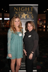 Elizabeth Thibeau, recipient of the Park Hill School District Alumni Scholarship, with Denise Schnell, council member