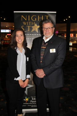 Ellie Stoker, recipient of the Robert L., Lorena Ann and Roger Burns Memorial Scholarship with Dr. Robert Burns, council member