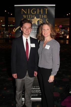 Ryan Decker, recipient of the William and Elvarea Fickle Scholarship, with Tara Bennett, scholarship sponsor