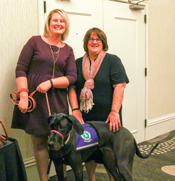 Teacher's Assistant Angie Haill and Special Education Teacher Sarah Cohalla shared how a grant helped bring Lucy the therapy dog to Chinn Elementary.