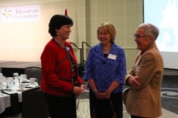 Superintendent Dr. Jeanette Cowherd visited with Janet Kenny and Education Foundation council member Barbara Bucker.