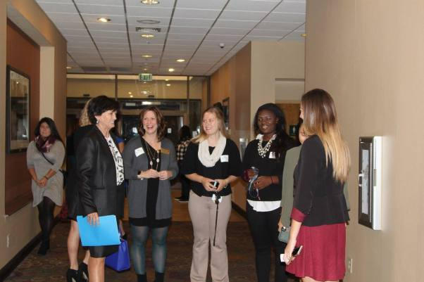 Superintendent Dr. Jeanette Cowherd chatted with LEAD and Professional Studies facilitator Colleen Katzenberger Coursey and some of her students. — with Colleen Katzenberger Coursey.