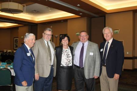 Foundation Treasurer Paul Gault, Council member Dr. Robert Burns, Superintendent Dr. Jeanette Cowherd, Foundation Vice Chair Kent Mayfield and Foundation Chair Bob Weidt — with Paul Gault, Kent Mayfield and Bob Weidt.