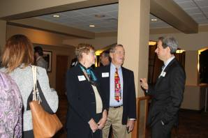 Linda and Marlin Cone talk with Council member Michael Atchison. — with Michael Atchison.