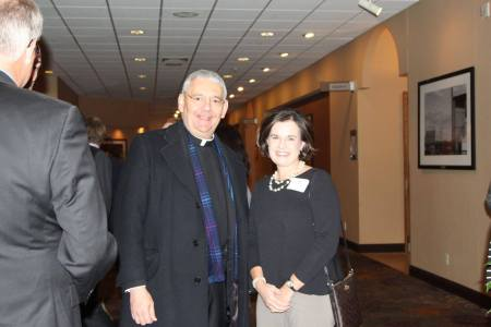 Father Joe Cisetti and English Landing Elementary Principal Dr. Kerry Roe