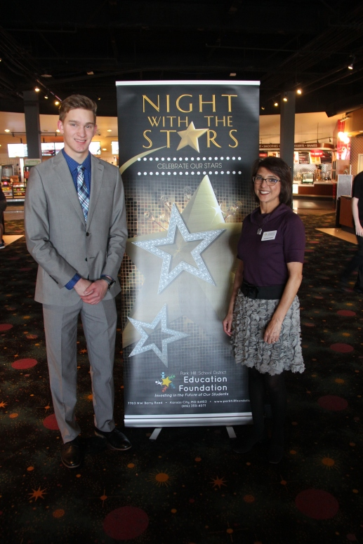Josiah Dycus, recipient of the Rotary Club of South Platte Scholarship, with council member Carmen Scott