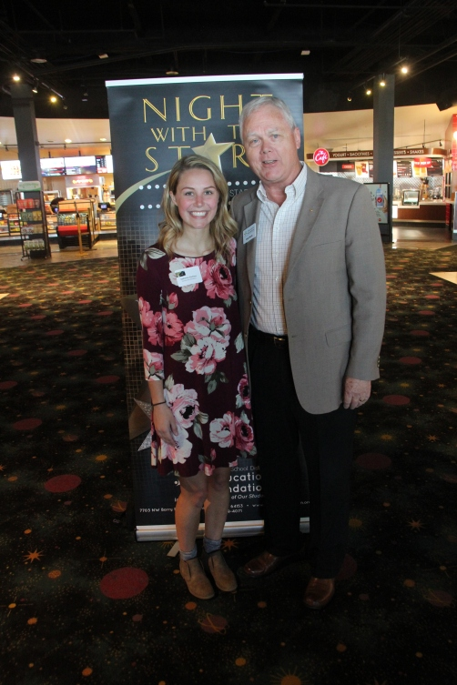 Kate Eischens, recipient of the Rotary Club of South Platte Scholarship, with Foundation chairperson Bob Weidt