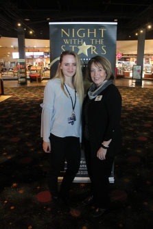 Keely Danielson, recipient of the Saint Luke's North Hospital Scholarship, with council member Denise Schnell