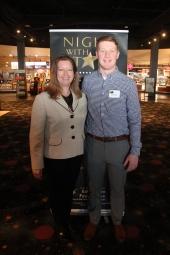 Board of Education President Janice Bolin and Randen Plattner, recipient of the Darren Floyd Memorial Scholarship